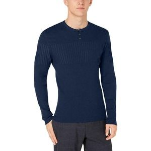 Alfani Fitted Ribbed Blocked Henley Sweater Navy